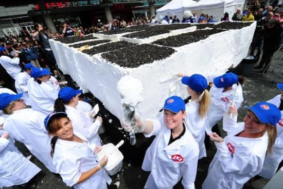 Šī kūka svēra 1013 tonnas ... Autors: Ediiijsss Pasaules lielakā saldējuma kūka...