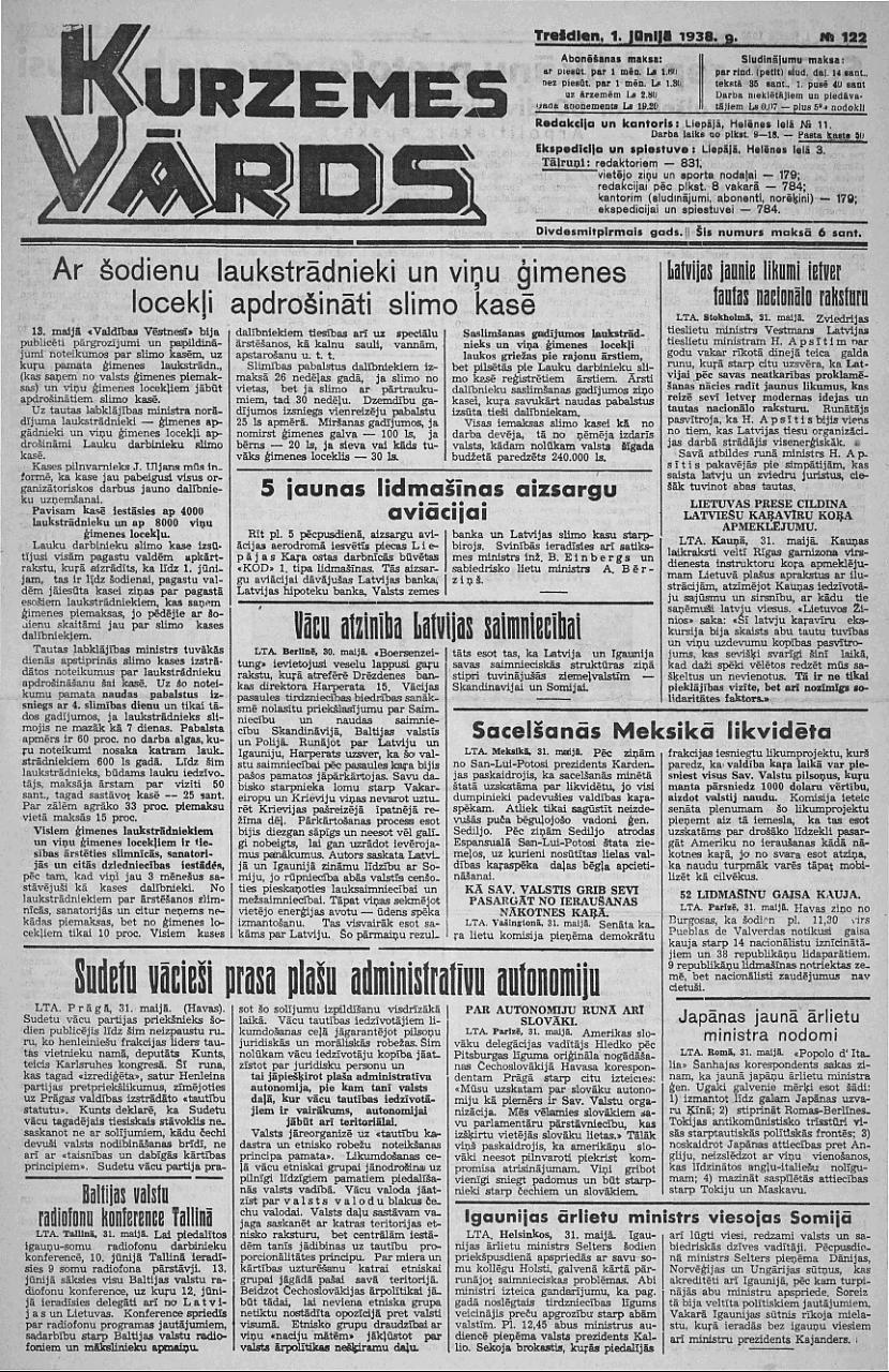 1938 gada 1 jūnija Kurzemes... Autors: Ihonujmans Avīzes Latvijā pirms II pasaules kara.