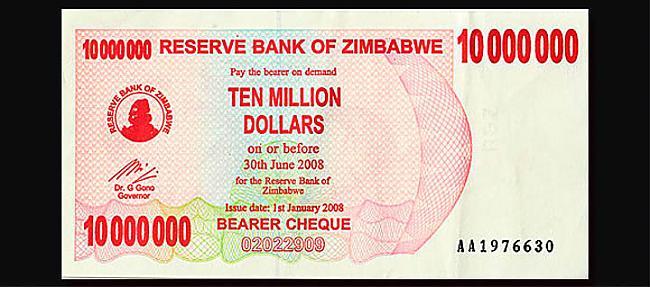 10 miljoni Zimbaves dolāri2008... Autors: Fallenbeast Vislielākās banknotes pasaules vēsturē
