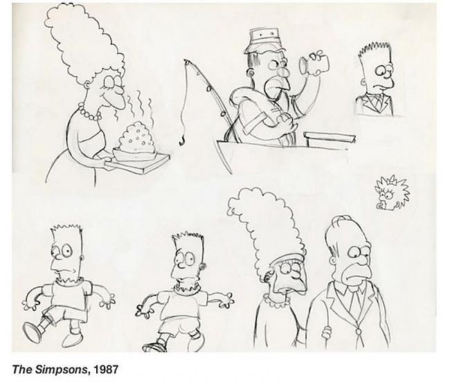 The Simpsons 1987 gads Scaronī... Autors: zhagata13 Multeņu varoņi mākslinieku skicēs
