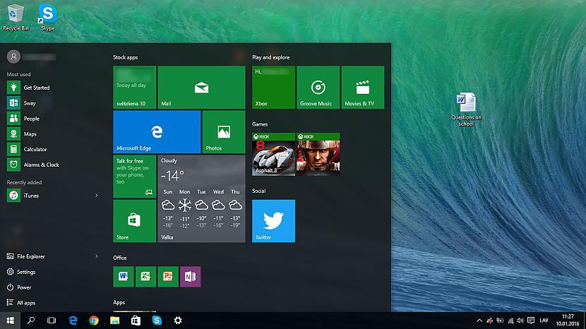 Start menu izvēlne Sākt ir... Autors: Fosilija Lietas, kas man patīk Windows 10