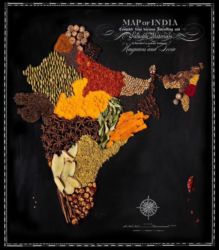 Indija  Garscaronvielas Autors: Sarius Viņi pārvērta ikoniskus ēdienus valstu un kontinentu kartēs.