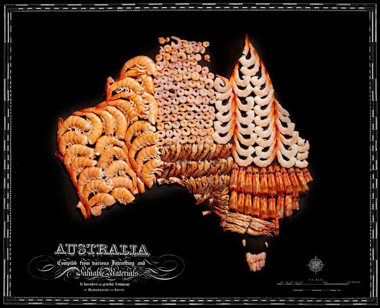 Austrālija  Garneles Autors: Sarius Viņi pārvērta ikoniskus ēdienus valstu un kontinentu kartēs.