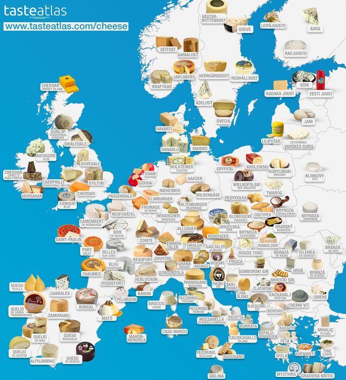 Eiropas sieru karte Autors: Lestets 20 neparastas kartes, kas var mainīt perspektīvu