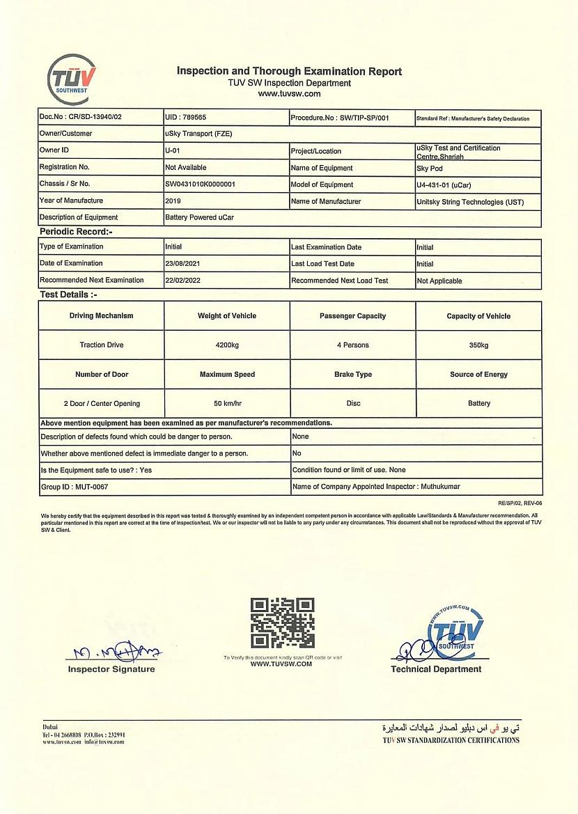 UCar ndash pasažieru EV ndash... Autors: The Next Tech uSky (SkyWay) sertifikācija AAE