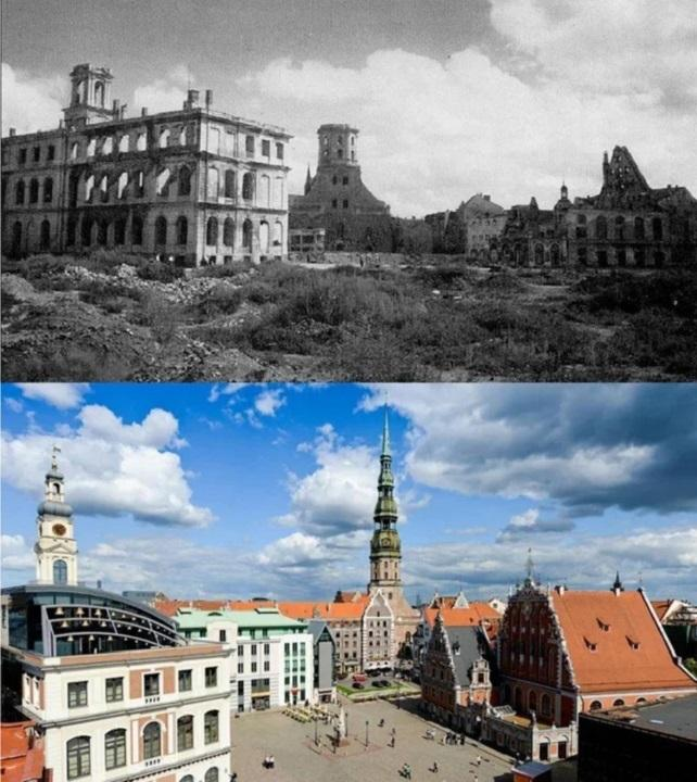Rīga 1944 g salīdzinājumā ar... Autors: Lestets Toreiz un tagad: Kā laika gaitā ir mainījušās šīs vietas?